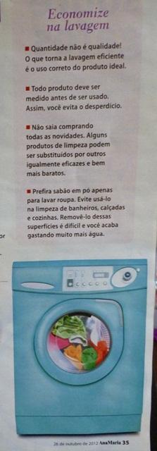 parte da matéria O jeito certo de lavar sem estragar a roupa,  Revista Ana Maria out2012